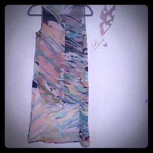 H&M abstract watercolor sheer sleeveless blo…